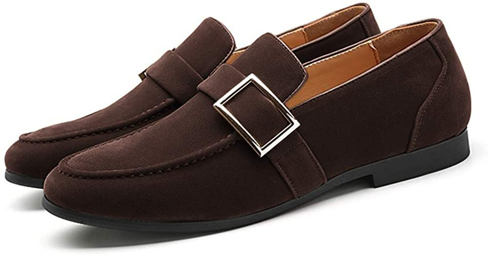 FLQL Men's Luxury Penny Suede Leather Loafer Plus Size Buckle Dress Shoes Size 7-13
