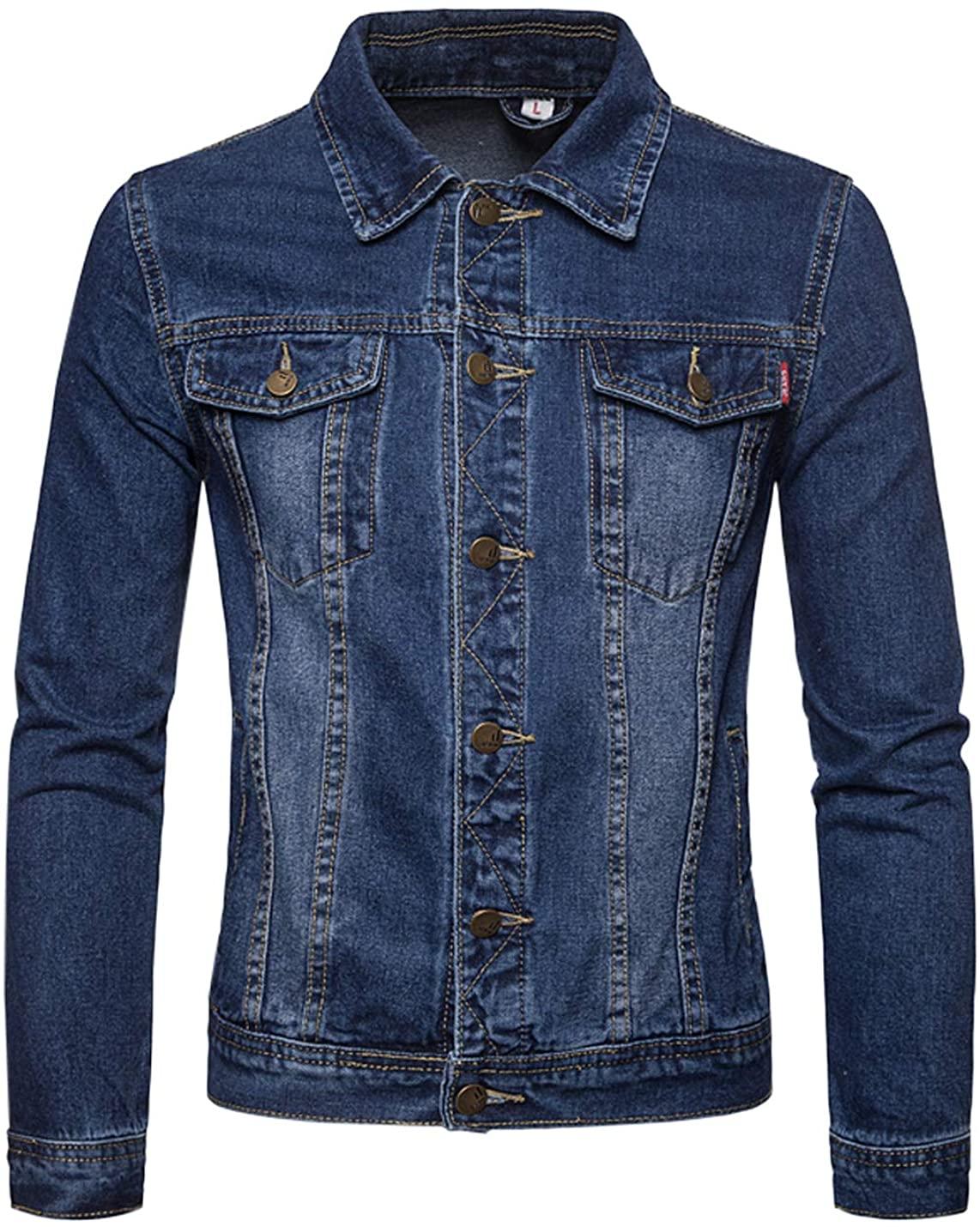 Firehood Men's Vintage Punk Relaxed Button Down Denim Jacket Classic Trucker Jean Coat