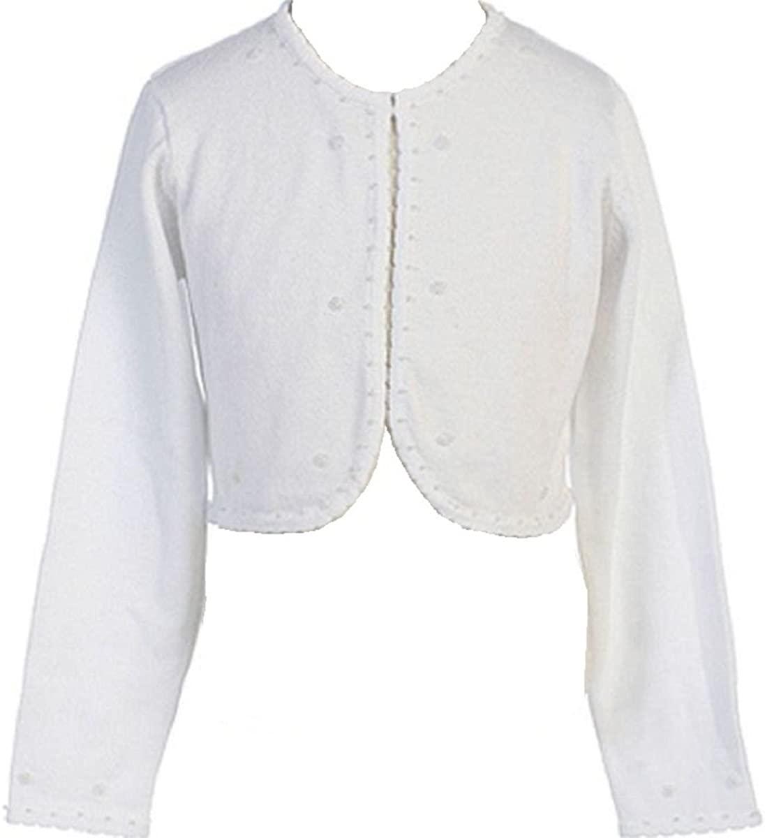 Little Girls Beaded Knit Cotton Bolero Shrug Sweater for Flower Girl Communion