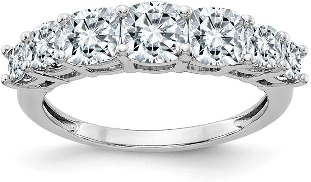 14K White Gold Ring Band Moissanite Cushion D E F Pure Light, Size 8
