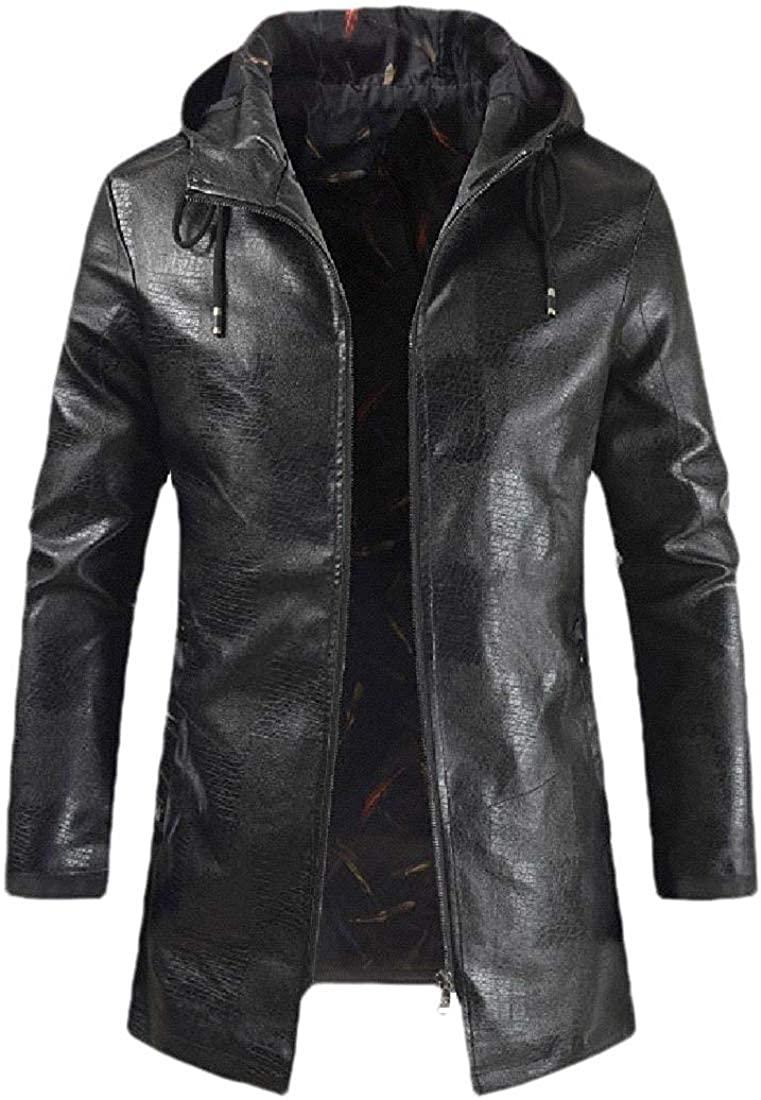 Men's Plus-Size Zipper Stylish Hooded Casual Pocket Pu Leather Jacket,Black,US 3X-L=China 4XL