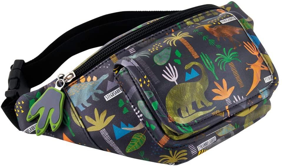 Dinosaur Prehistoric Midnight Black 11 x 5 Polyester Fabric Waist Belt Bag Pack