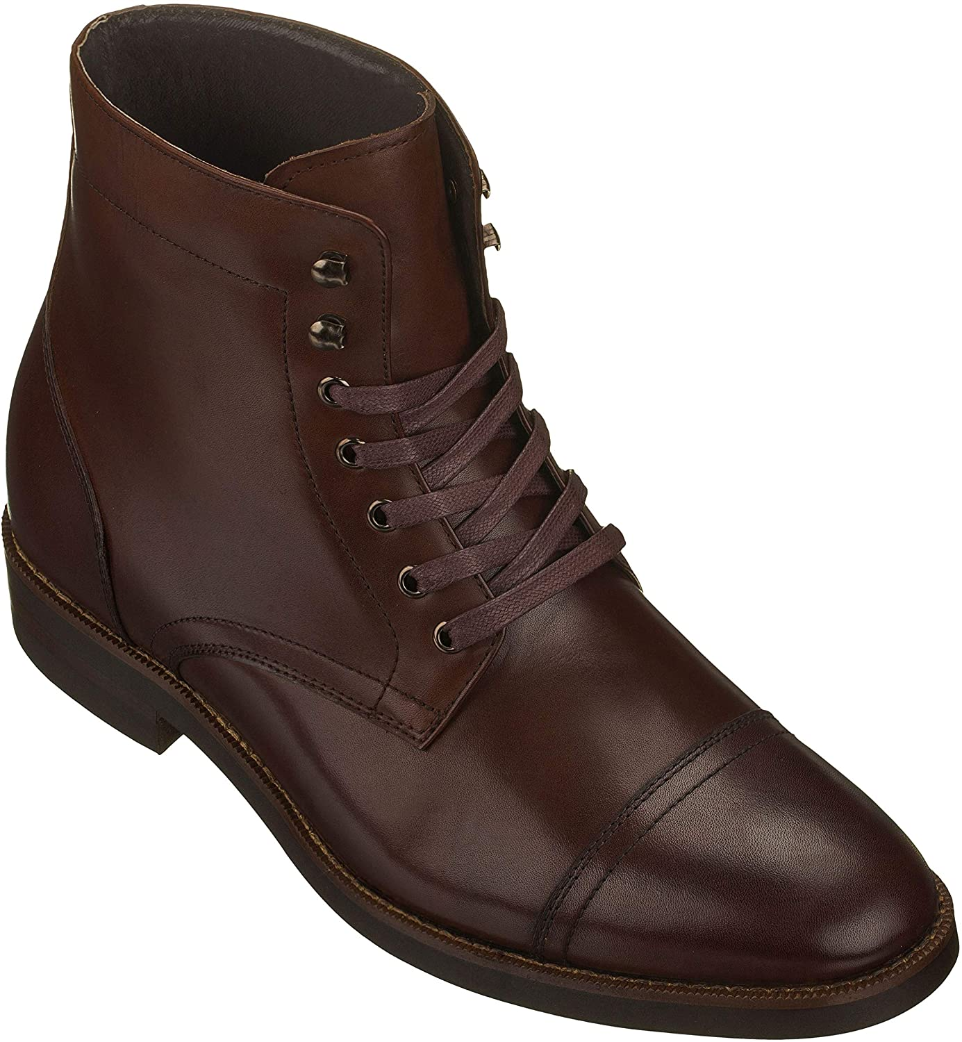 CALTO Mens Invisible Height Increasing Elevator Shoes - Dark Brown Premium Leather Lace-up High-top Boots - 2.8 Inches Taller - S9011