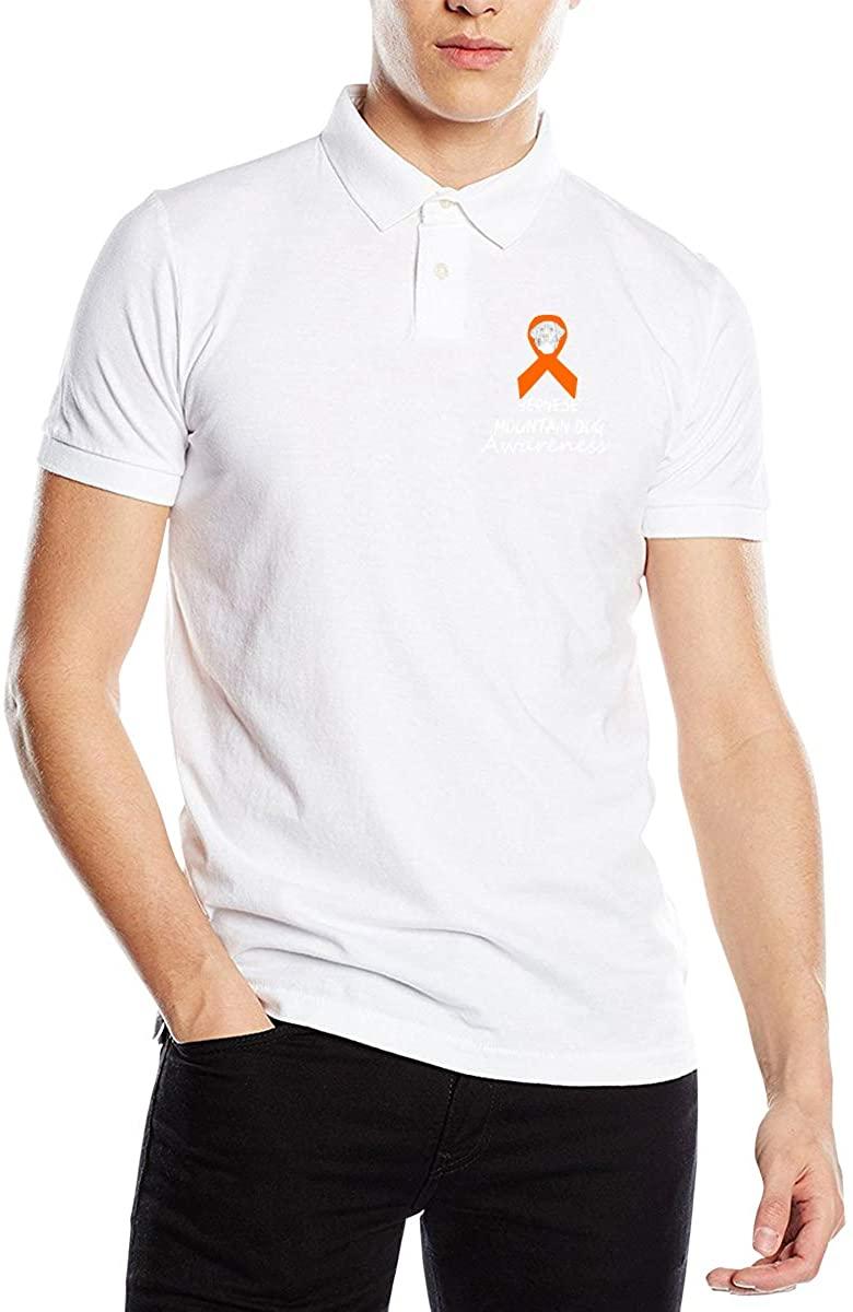 Bernese Mountain Dog Awareness Ribbon Classic Cotton Shirt Men's Polo Shirt Golf Polo Shirt