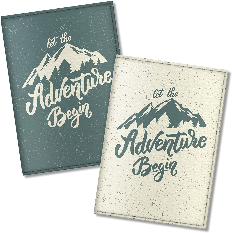 Quttie, Couple Vegan Eco Leather Passport Cover for Family (Let The Adventure Begin)