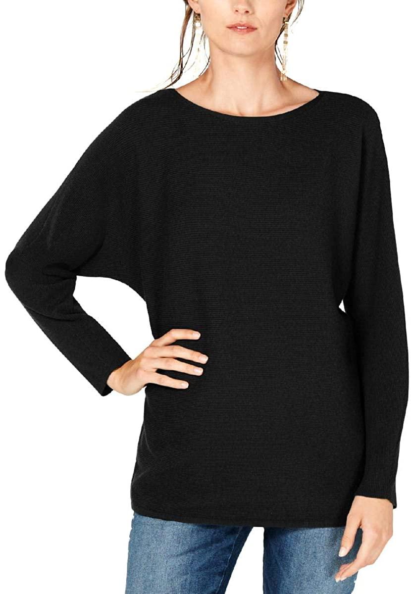 I.N.C. International Concepts INC Womens Black Ribbed Knit Dolman Sleeve Jewel Neck Sweater Size XXL