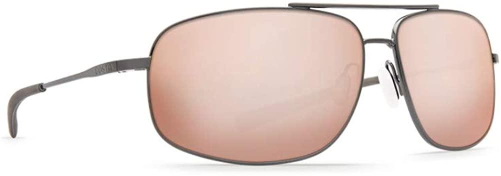 Costa Del Mar Men's Shipmaster Rectangular Sunglasses, Brushed Dark Gunmetal/Silver Mirror-580P, 62 mm
