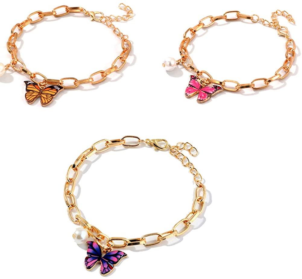 3 Pcs Butterfly Pearl Bracelet Set Adjustable Gold-Plated Insect Chain Bracelet Delicate Boho Summer Beach Bracelet for Women Girls Jewelry