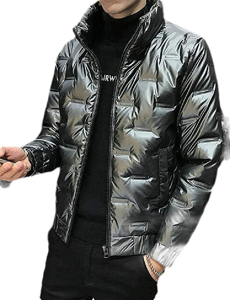 Hhxgcfgyd Men Down Jacket Winter Metallic Stand Collar Thicken Quilted Parka Coat