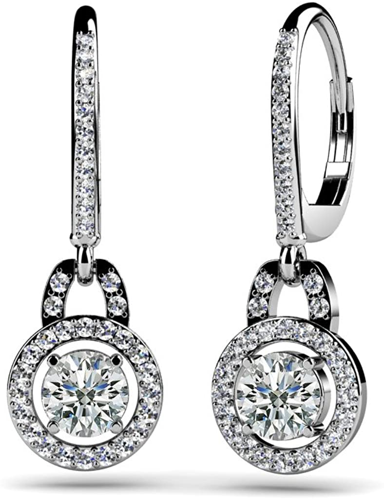 SILVER SEA EMPIRE 0.93 Ct Round Cut D/VVS1 Diamond Circle Drop Dangle Earring In 14K White Gold Plated 925 Sterling Silver