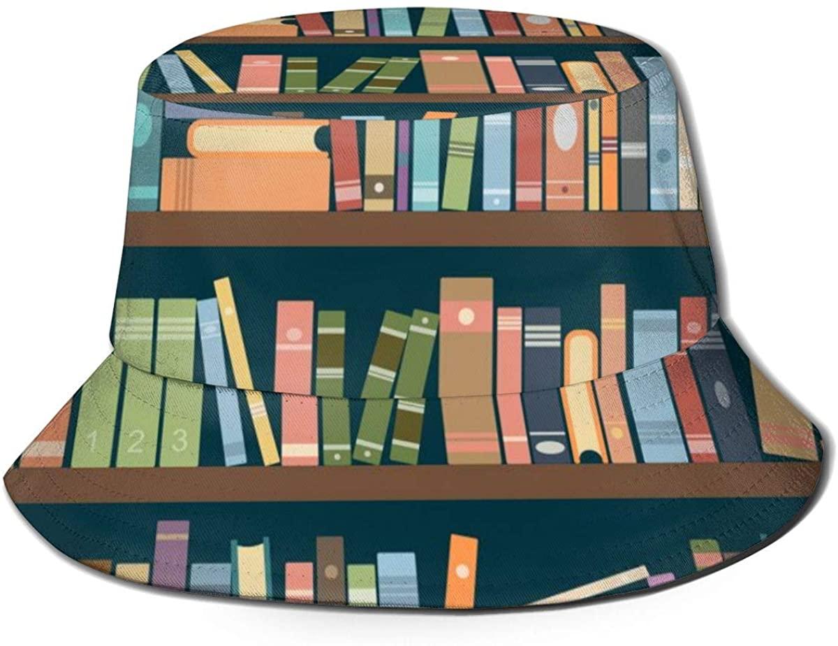 Bucket Hats for Teens Library Shelves Full of Books Beach Bucket Hat, Uv Bucket Hat, Foldable Sun Bucket Hat, Fisherman Hat
