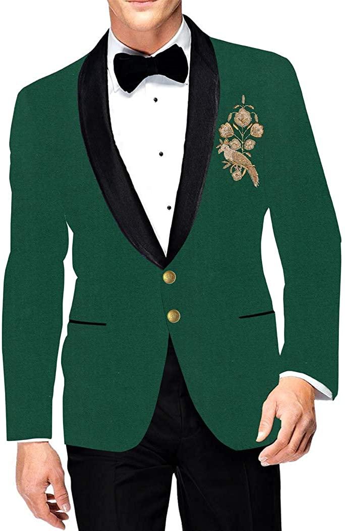 INMONARCH Mens Two Button Slim fit Green Blazer Sport Shawl Lapel Jacket Embroidered Coat SB19285