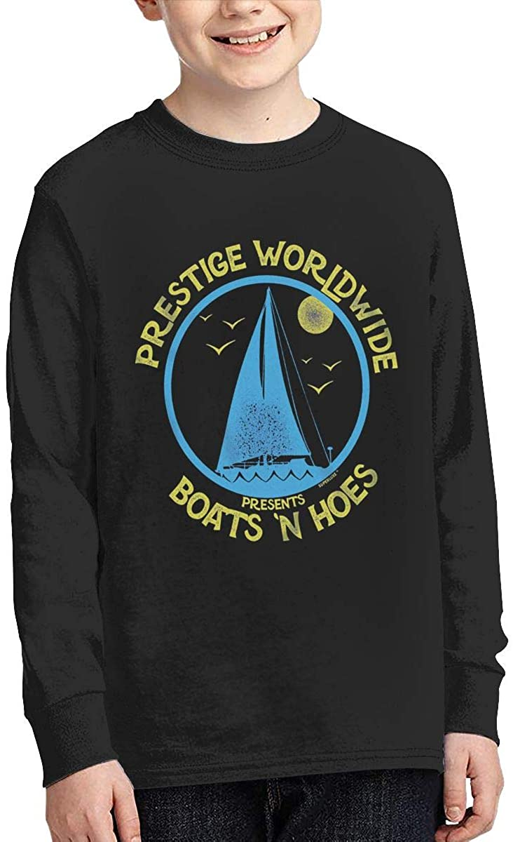 Xzmafthfrw Youth Boats 'N Hoes Sports Boy Or Girl Long Sleeve Shirt-Moisture Absorbing and Perspiration. Black