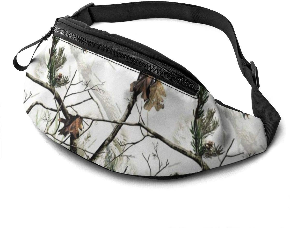 White Realtree Camo Fanny Pack For Men Women Waist Pack Bag With Headphone Jack And Zipper Pockets Adjustable Straps