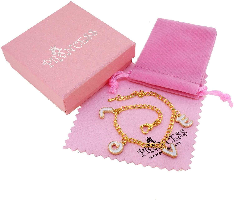 Princess-J Enamel LOVE 4 LETTER Charm Golden Tone Chain Link Bracelet for Teen Girls Women with Gift Box