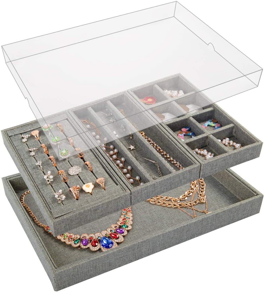 Mebbay Sackcloth Jewelry Box with Lid, 4 in One Stackable Jewelry Accessary Tray Display Storage, for Organizing Ring Stud, Necklace