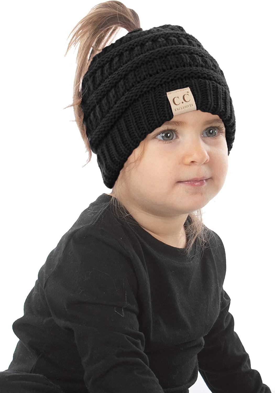 Funky Junque Exclusives BeanieTail Girls Beanie Kids Ponytail Hat Messy Bun Cap