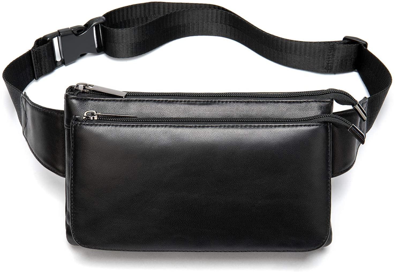 Genuine Leather Fanny Pack Purse Lambskin Fashion Waist Bag with Adjustable Belt Black