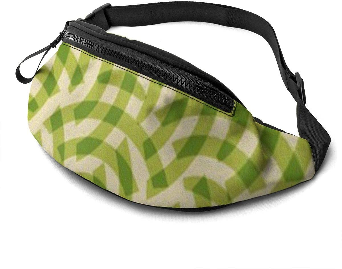 Green stripes Fanny Pack for Men Women Waist Pack Bag with Headphone Jack and Zipper Pockets Adjustable Straps