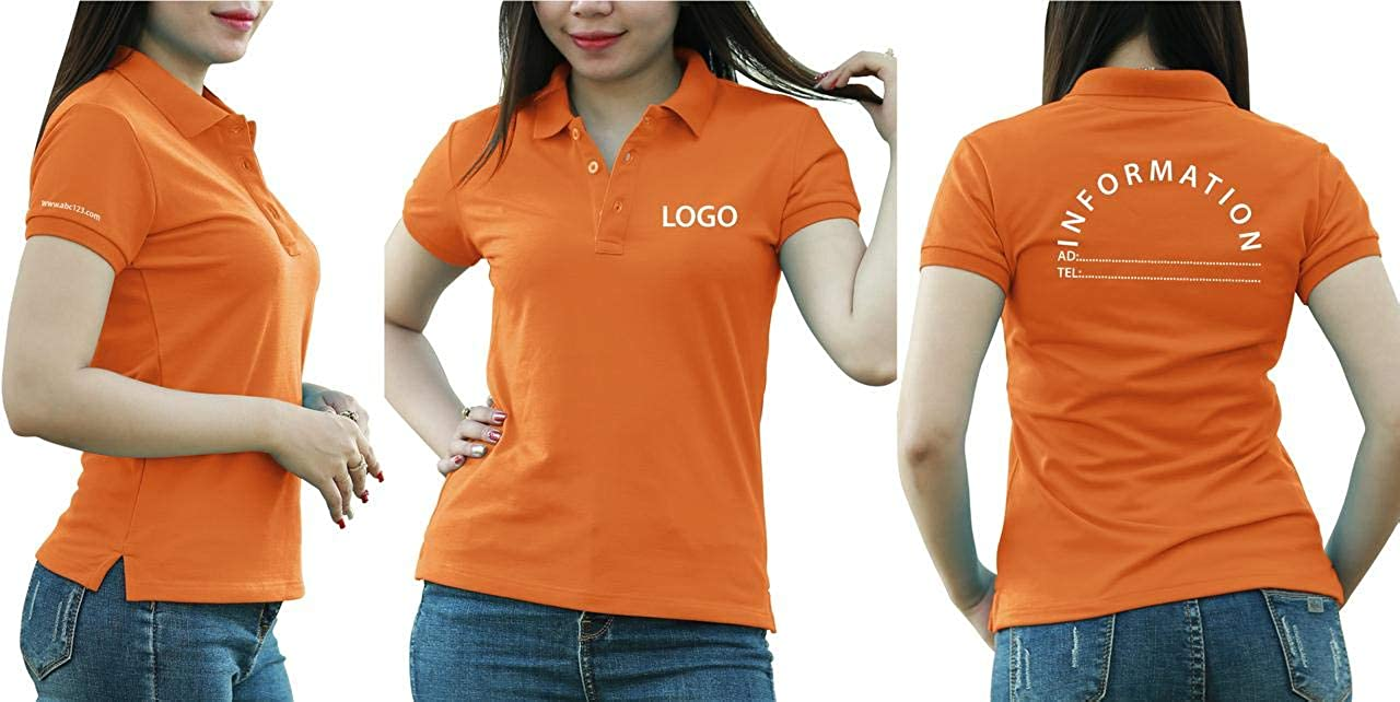 Add Your Logo Text Design Image Picture. Custom Polo. Personalized Polo. Embroidered On Polo & T-Shirt Uniform with Multi Sides. International Pack of 10 Orange