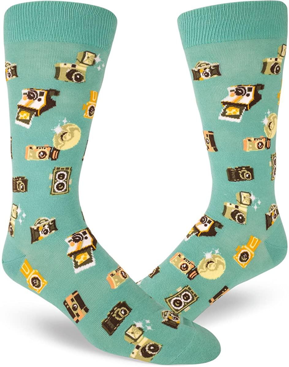 ModSocks Men's Camera Socks in Dusty Turquoise (Fits Most Men Shoe Size 8-13)