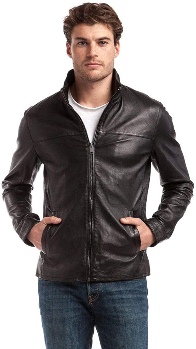 Benjer Skins Mens Genuine Lambskin Bomber Biker Motorcycle Leather Jacket Large Black 113