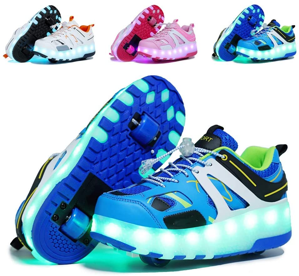 qyy Unisex Fashion Led Light Up Sneakers Shoes That Have Wheels Under Them USB Charging Skates Girls Boys Glowing Wheel Shoes Sneakers Kids Best GiftsBlue-USA 7.5