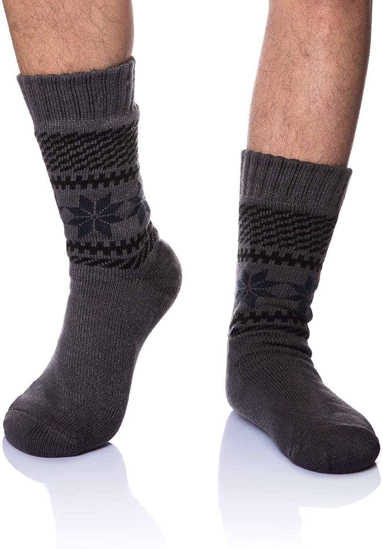 Men's Fleece Lined Cozy Extra Thick Slipper Socks Winter Non-Slip Fuzzy Home Sleeping Stockings