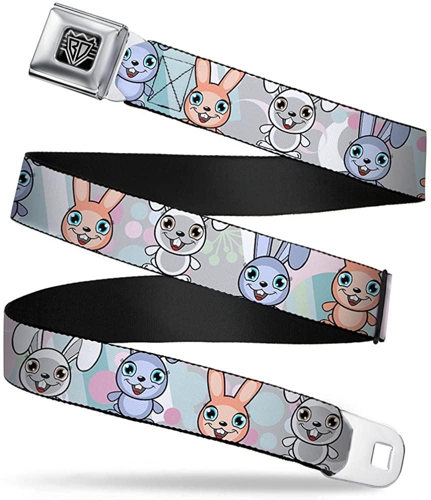 Buckle-Down Seatbelt Belt - Cute Bunnies Multi Pastel - 1.5 Wide - 32-52 Inches in Length