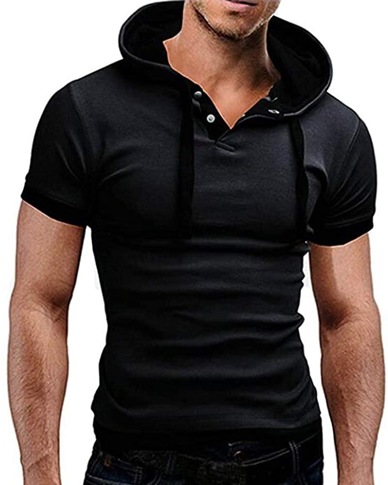 Beninos Men's Hooded Short Sleeve Polo Shirt