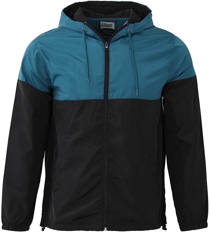 Beautiful Giant Mens Water Resistant Windproof Light Weight Hoodie Windbreaker Solid Color Block Jacket Black
