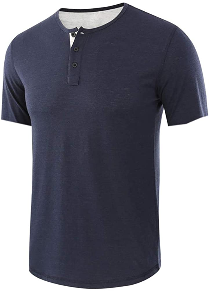 MorwenVeo Mens Casual Slim Henley Short Sleeve Fashion Summer Cotton T-Shirt