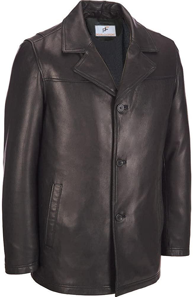 Figura Fashionz Black Genuine Lambskin Leather Short Body Hipster Coat for Men
