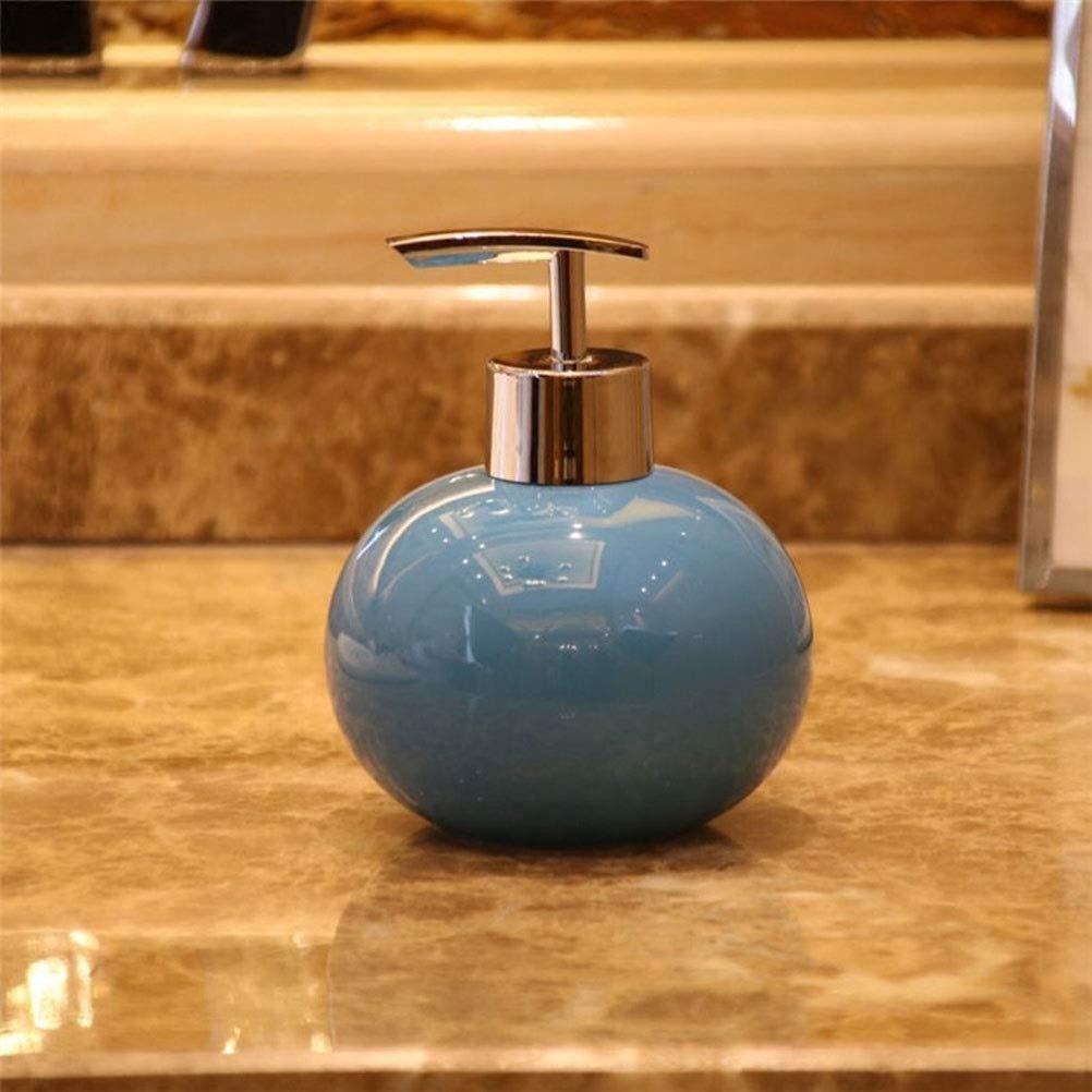 350ml Lotion Detergent Spray Shampoo Portable Bottle Pump Travel Bathroom Ceramics Soap Dispenser Kitchen Liquid Soap Dispenser (Color : Blue)