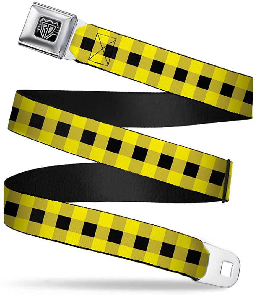 Buckle-Down Seatbelt Belt - Buffalo Plaid Black/Neon Yellow - 1.5