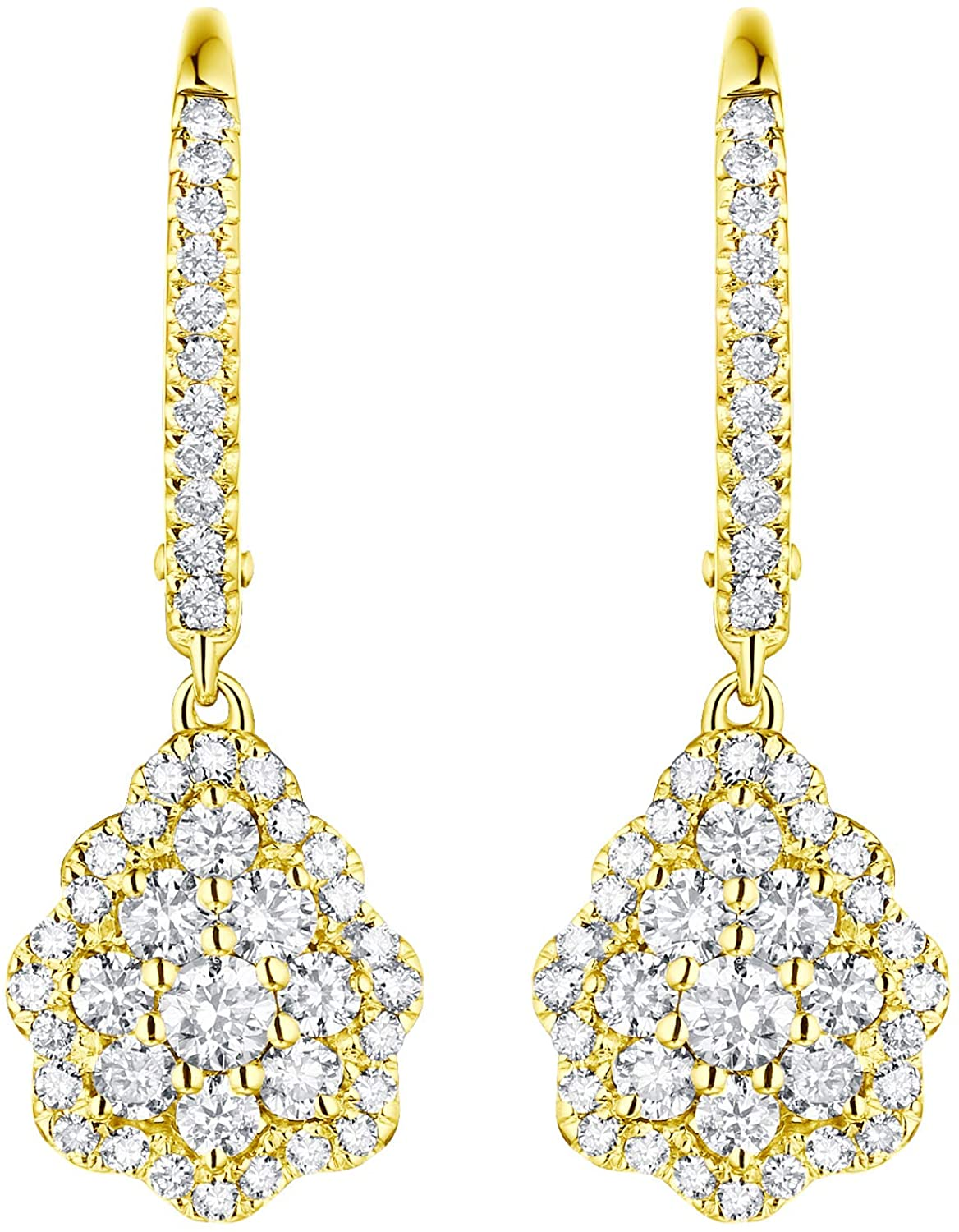 Prism Jewel 0.92Ct Natural G-H/SI1 White Diamond Dangling Lever Back Earrings Crafted In Gold