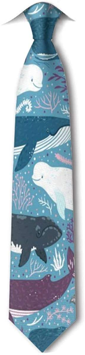 Narwhal Blue Whale Men's Tie Hipster Skinny Neckwear Leisure Neckties