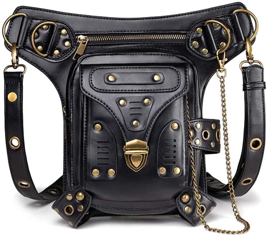 Chikencall Gothic Steampunk Waist Bag Multi-functional Drop Leg Pack Hip Belt Arm Bag Pack Beltbags Waist Shoulder Fanny Packs Purse Pouch Bag Messenger Bag Black