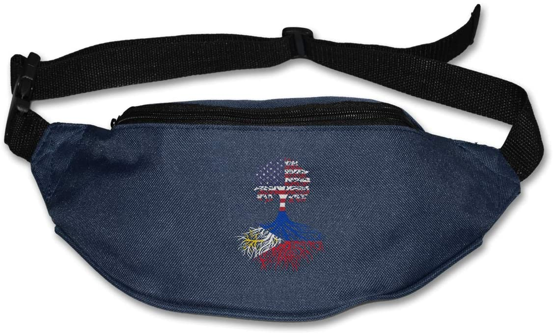 SWEET-YZ Unisex Waist Pack American Filipino Roots Flat Fanny Bag Pack for Sport Running