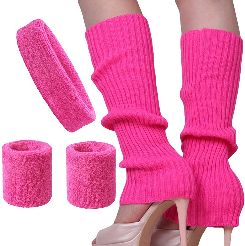 Song Qing Women 80s Dance Plain Ribbed Running Headband Wristbands Knit Crochet Long Leg Warmers Set