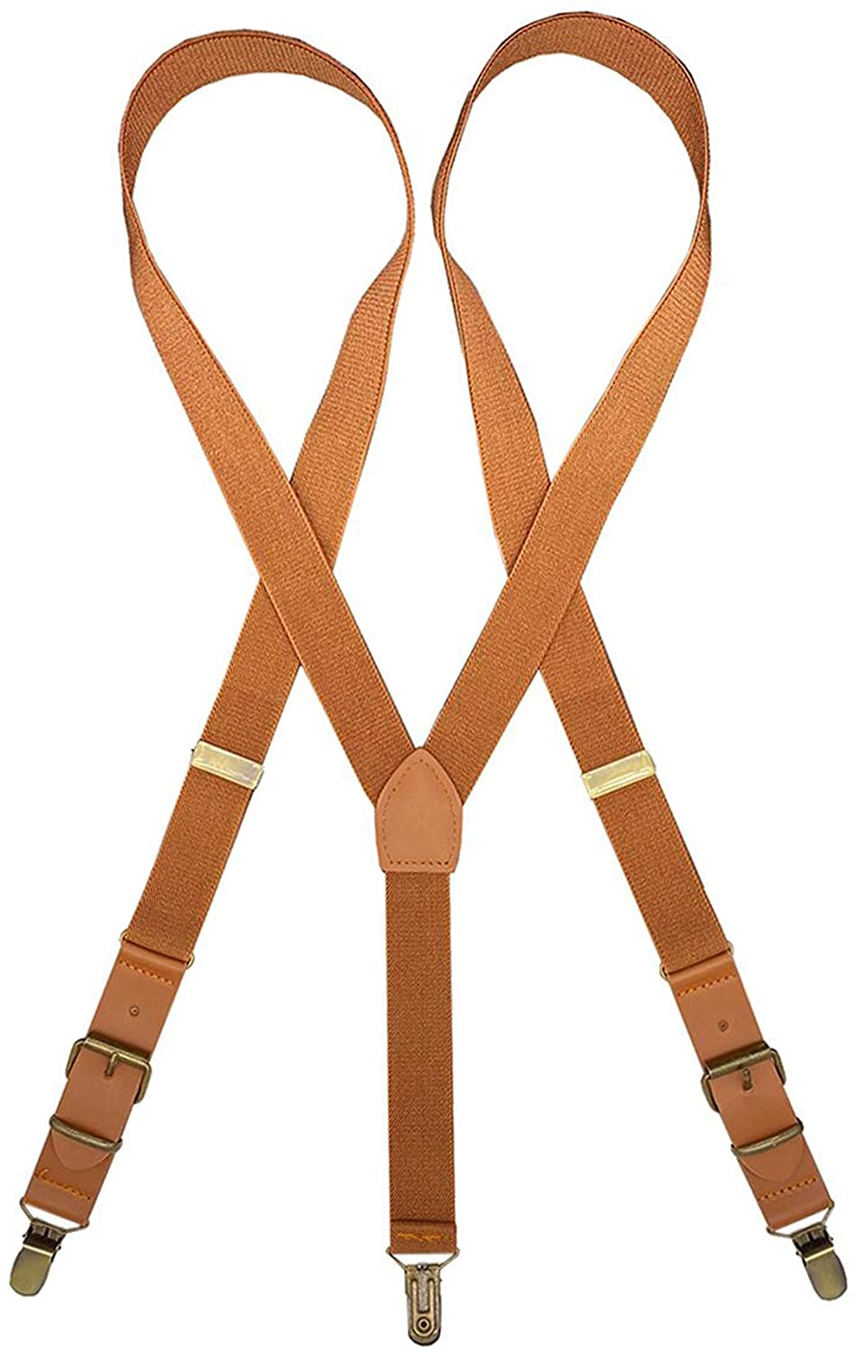 MENDENG Adjustable Suspenders for Men Bronze Metal Clips Braces with Leather