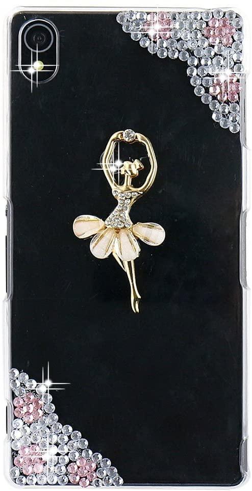 STENES Sony Xperia XA Case - 3D Handmade Crystal Dance Ballet Girl Flowers Sparkle Rhinestone Design Cover Case For Sony Xperia XA With Retro Dust Plug - Clear
