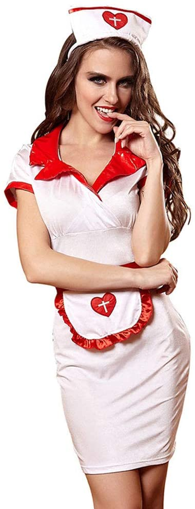 Fvdsghdf Erotic Lingerie, Sexy Nurse Outfit, Cosplay Game Nurse Clothes, Hotel Uniform (Color : White, Size : L)