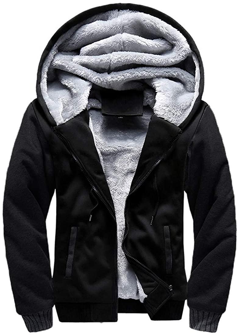 Mens Warm Winter Coat Hoodie Fleece Suit Long Sleeve Plus Velvet Thick Hooded Zipper Jacket Outerwear Plus Size