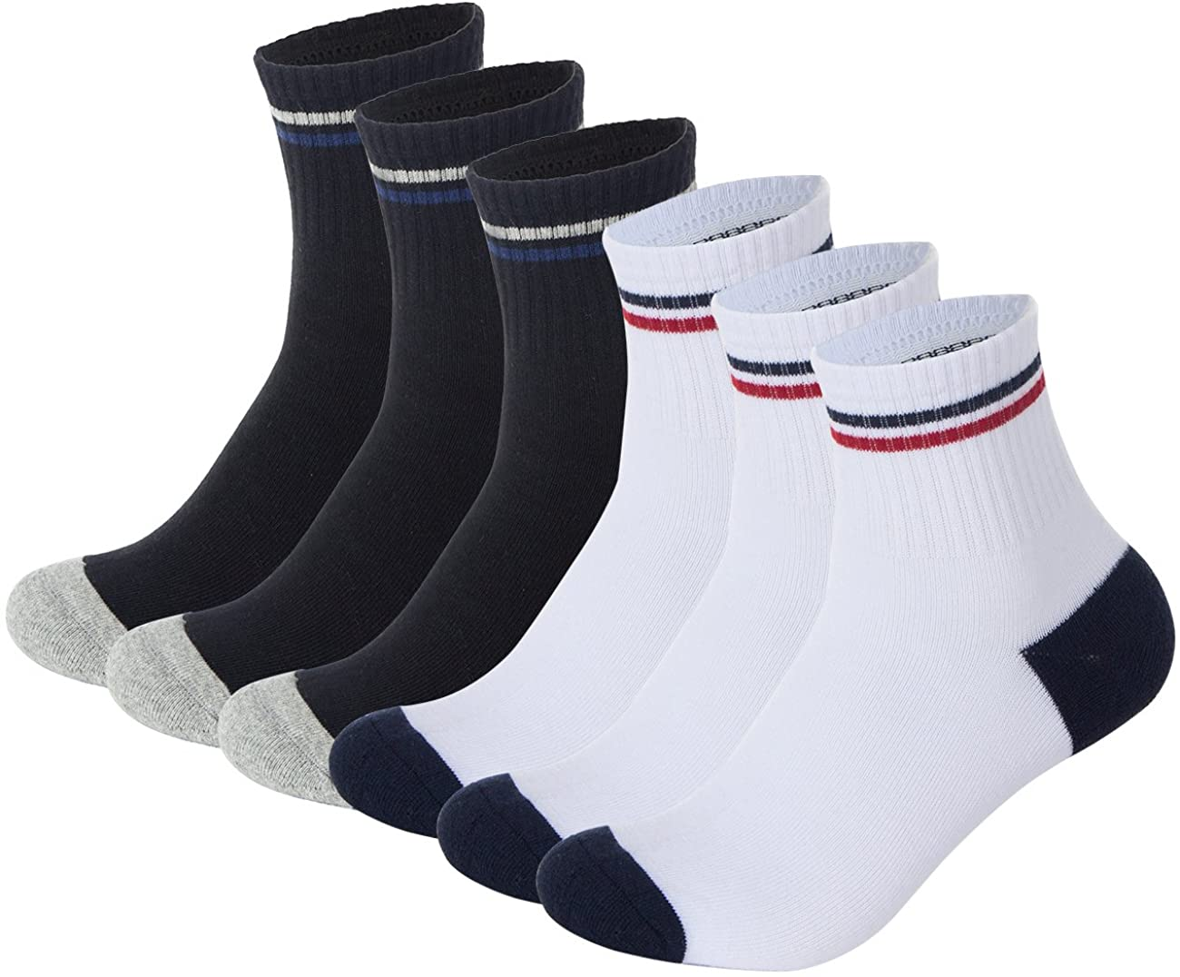 Pinkpum 6 Pack Cotton Casual Ankle Athletic Socks for Size 6-12