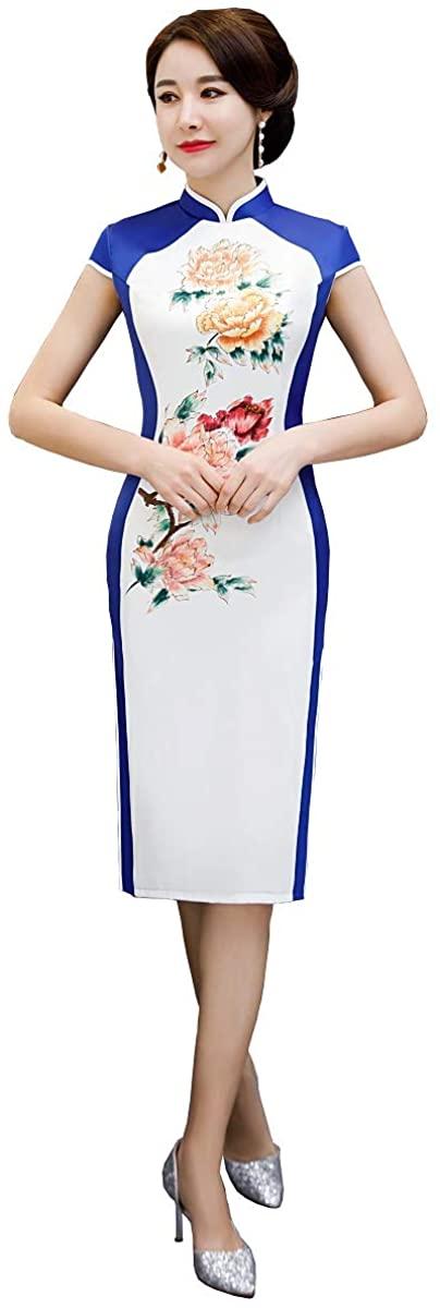 Shanghai Story Knee Length Floral Qipao Short Sleeve Chinese Style Cheongsam Dress