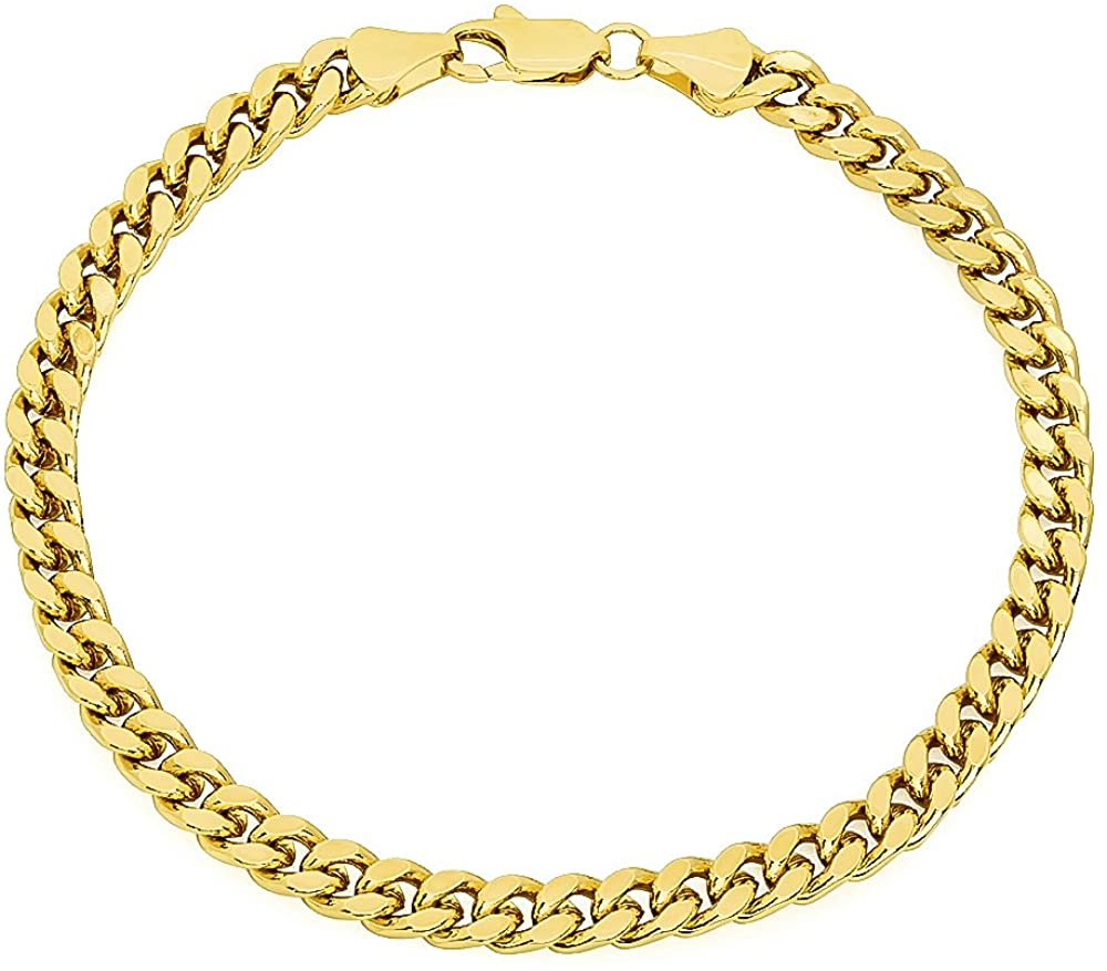 The Bling Factory 5mm 0.25 mils (6 microns) 14k Yellow Gold Plated Curb Chain Bracelet, 7 inches + Jewelry Cloth & Pouch