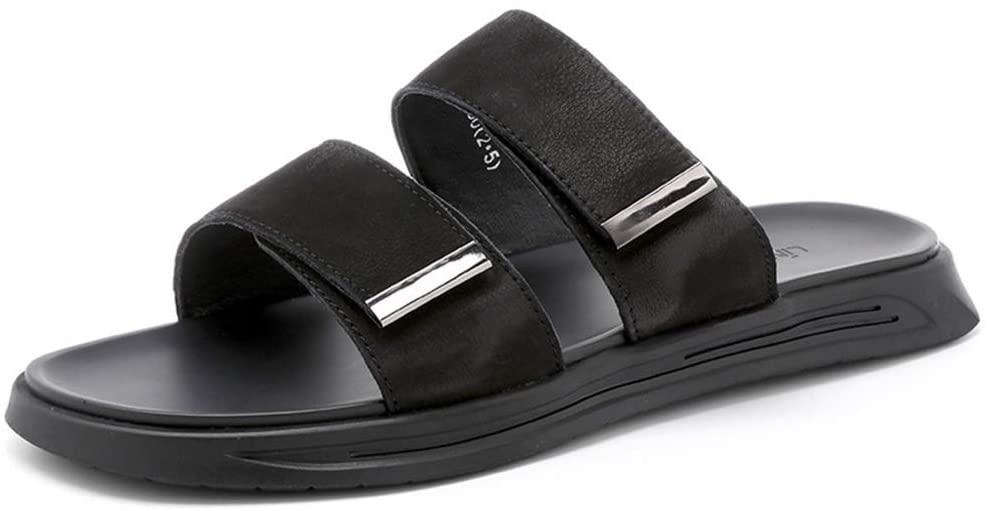 Men's Sandals Summer Men's Sandals Fashion Wild Outdoor Sandals One-Word Drag Men's Shoes Roman Sandals (Color : Black, Size : 40)