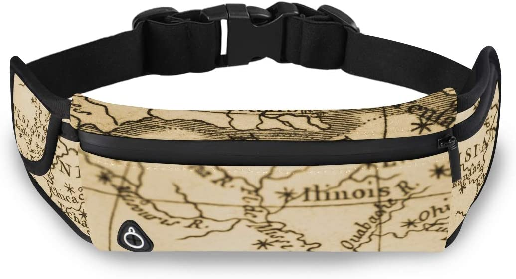 Old Map America New Orleans Waist Pack For Women Clear Bags Fashion Womens Fashion Travel Bag With Adjustable Strap For Workout Traveling Running