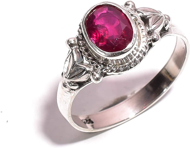 Mughal gems & jewellery 925 Sterling Silver Ring Natural Kashmir Ruby Gemstone Fine Jewelry Ring for Women & Girls Size 7.5 U.S (ZR-795